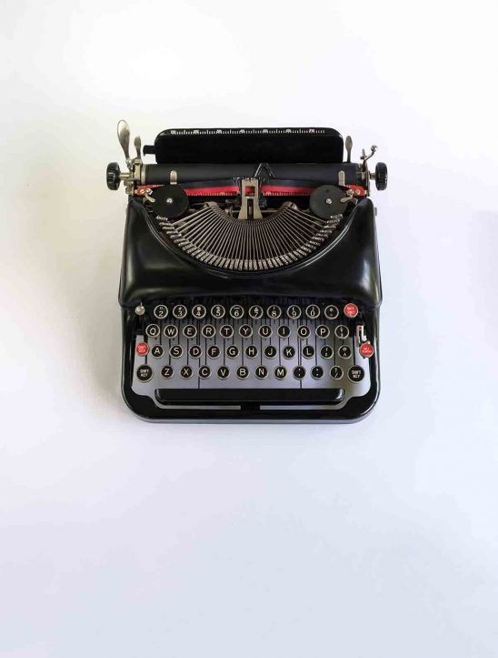 Free stock photo High angle view of typewriter over white background