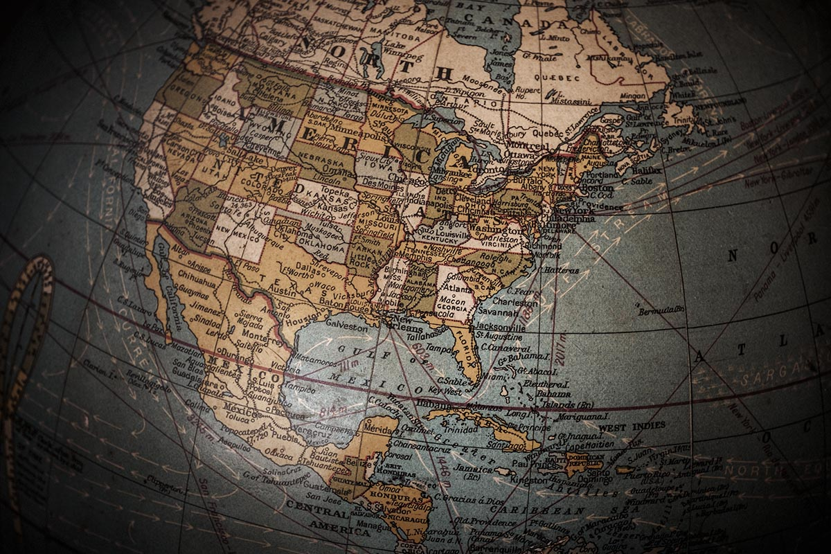 Free stock photo Section of an antique globe showing North America