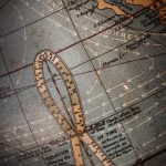 Free stock photo Section of an antique globe showing analemma and Pacific Ocean
