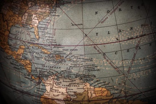 Free stock photo Section of an antique globe showing the Caribbean and Atlantic Ocean