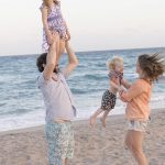 Free stock photo Family playing on a beach with their children