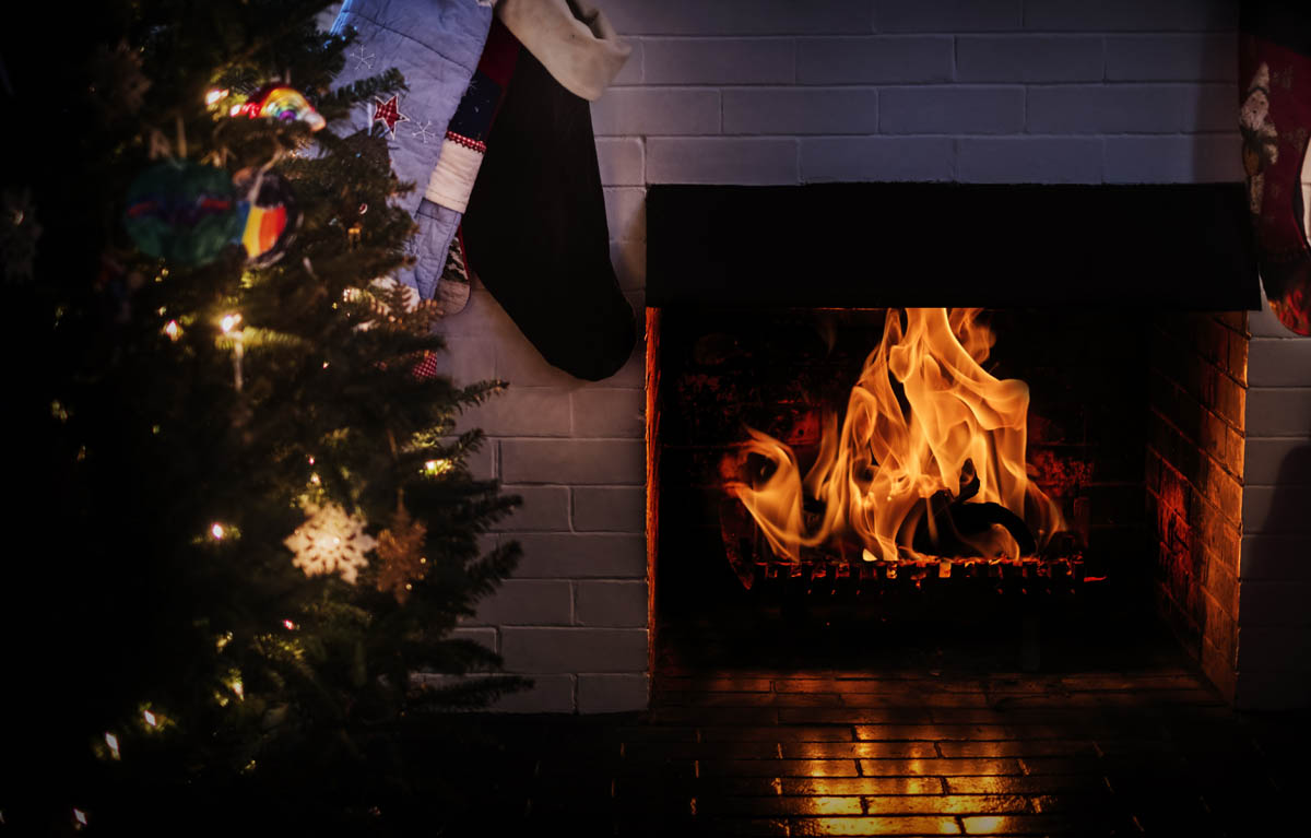 Free stock photo Close-up of fireplace during Christmas
