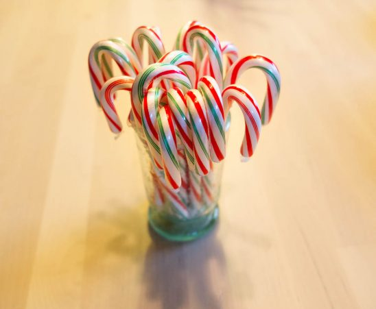 Free stock photo High angle view of multi colored candy canes