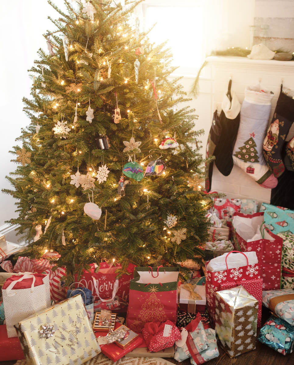 Free stock photo Christmas tree by gifts and stockings at home