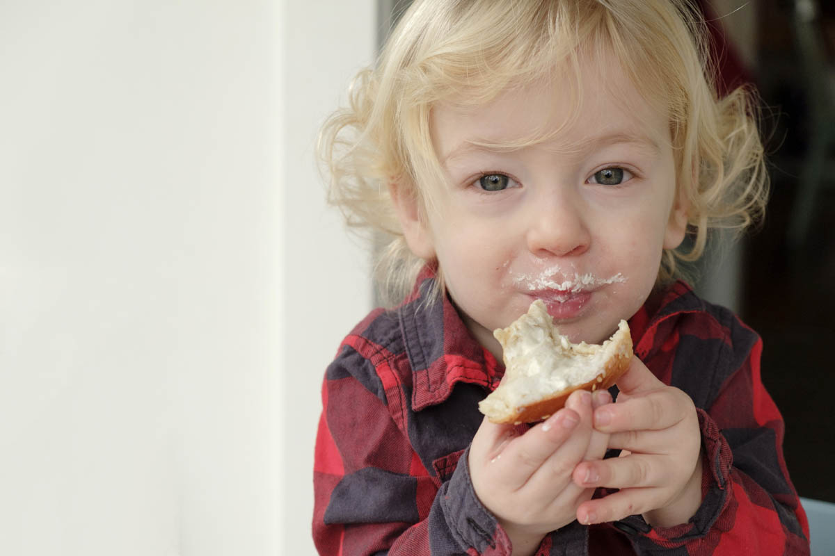 Free stock photo Portrait of cute boy eating sweet a bagel with cream cheese