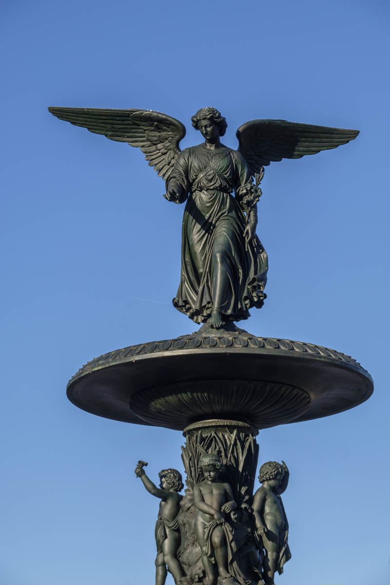 Free stock photo Vertical view of the angel statue on top of Bethesda Fountain in Central Park