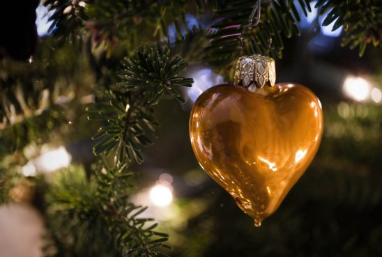 Free stock photo Close-up of heart shape ornament hanging from Christmas tree