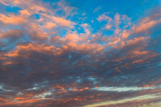 Free stock photo Low angle view of orange clouds in sky