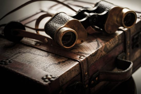 Free stock photo Close-up of antique binoculars on briefcase