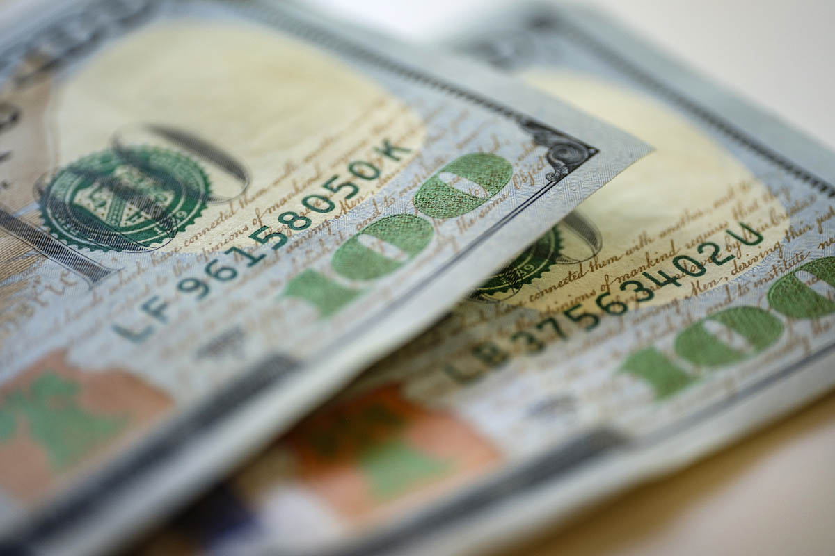 Free stock photo Close-up of American one hundred dollar bills