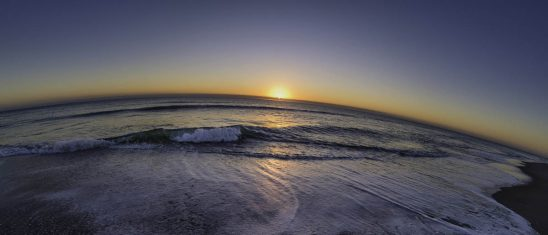 Free stock photo Fish-eye lens of sea against sky during sunset