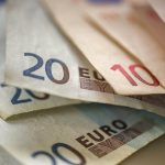 Free stock photo Close-up of euro paper currency on table