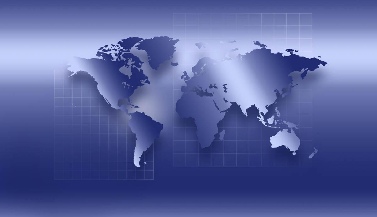 Free stock photo World map on blue screen