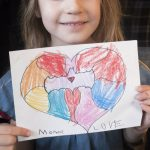 Free stock photo Little girl holding drawing of a heart