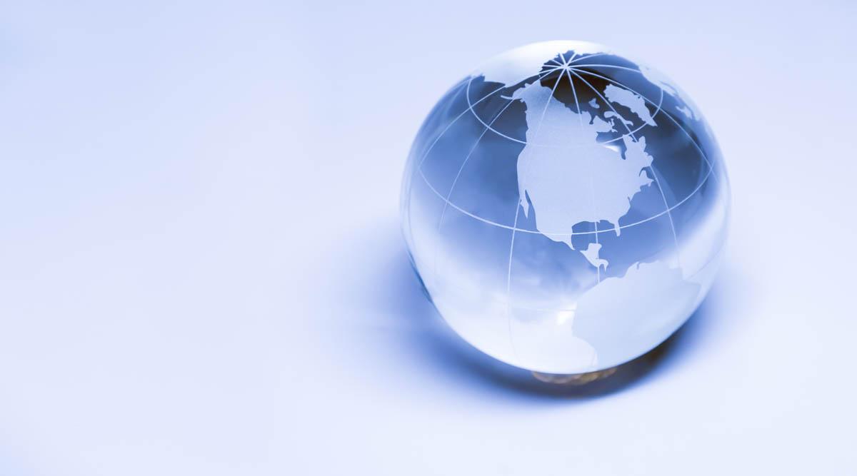 Free stock photo Crystal globe on blue background