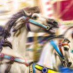 Free stock photo Close-up of carousel horses in motion