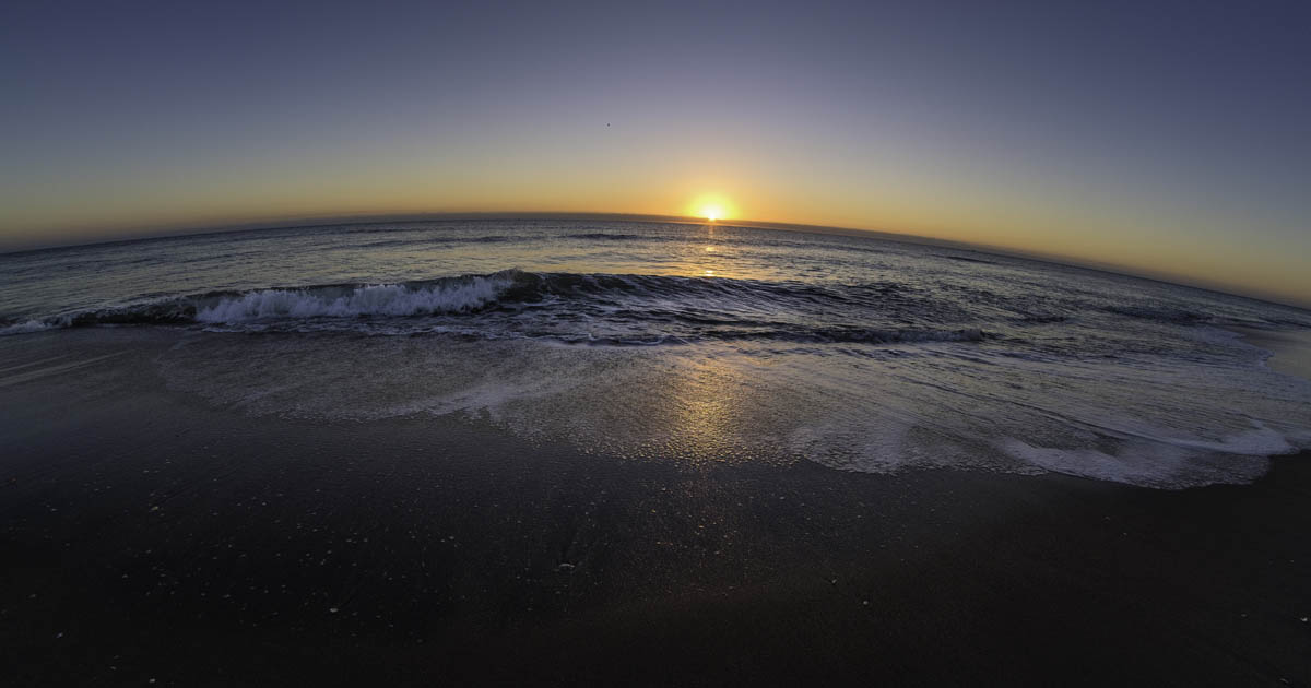 Free stock photo Fish-eye lens of beach against sky during sunset