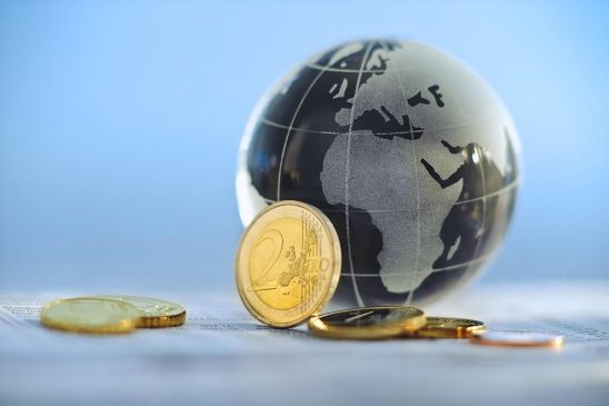 Free stock photo Glass globe with Europe and Africa showing and Euros