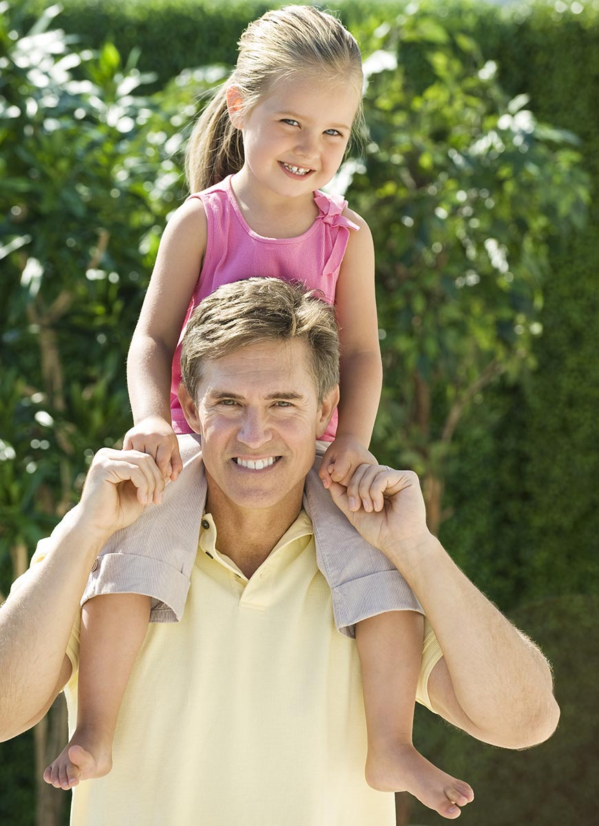 Free stock photo Father carrying daughter on his shoulders