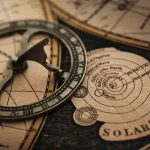 Free stock photo Close-up of sundial and solar system chart on table