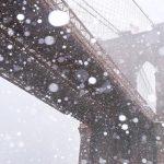 Free stock photo Brooklyn Bridge with falling snow