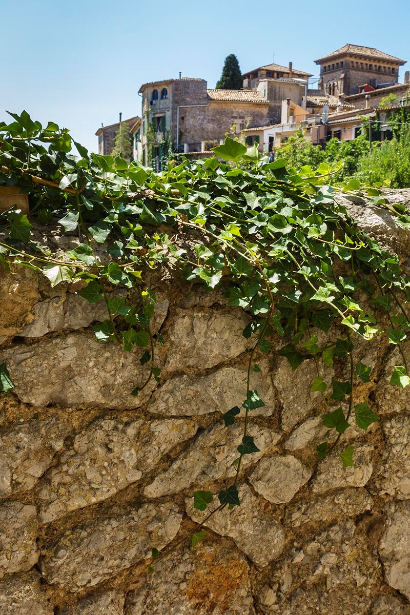 Free stock photo Stone wall with the town of Valldemossa, Majorca, Spain