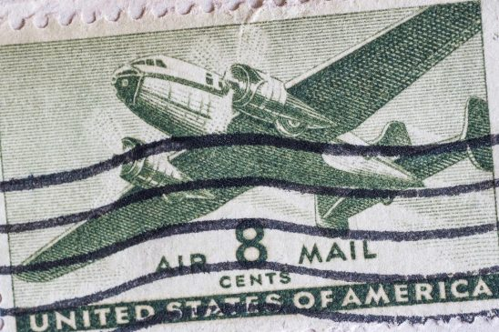 Free stock photo Vintage United States 8 cents airmail stamp