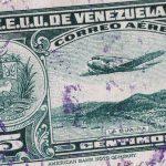 Free stock photo Vintage Vinezuelan airmail stamp with airplane