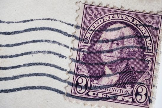 Free stock photo Close up of an old United States 3 cent stamp with George Washington