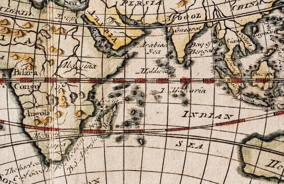 Free stock photo Antique map showing parts of India, Asia, and the Mid-East