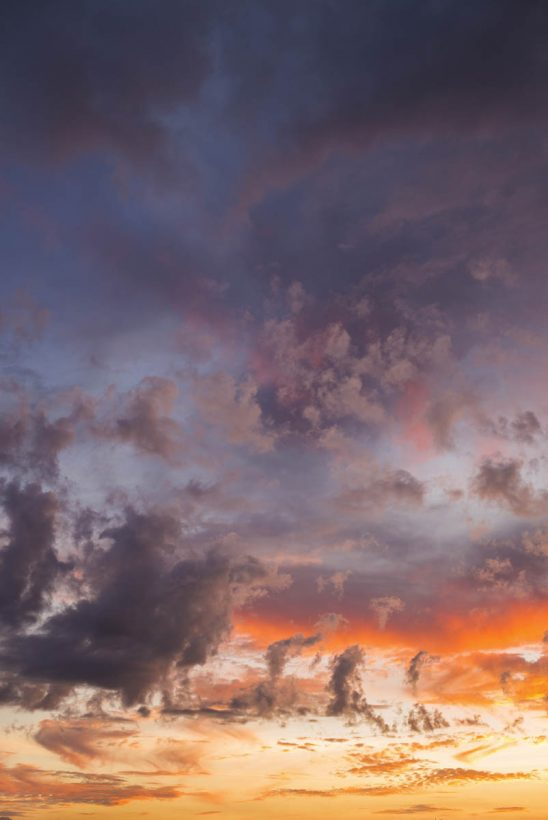 Free stock photo Scenic vertical view of sky and clouds during sunset