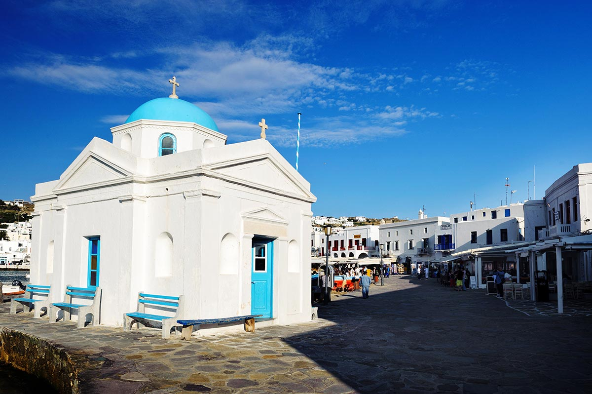 Free stock photo Small blue church and old town on Mykonos, Greece
