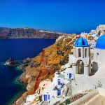 Free stock photo Greek island of Santorini overlooking the Aegean Sea