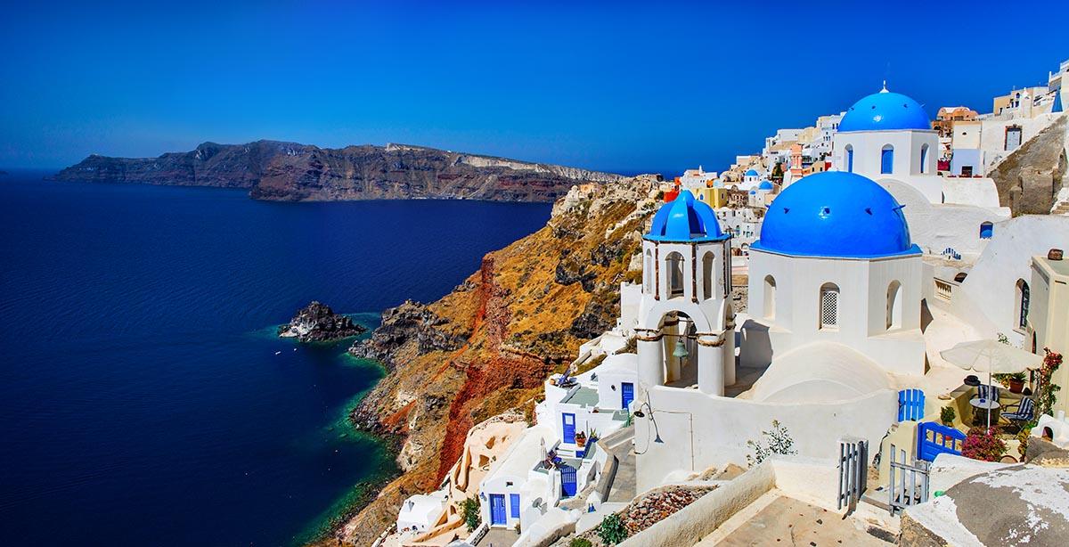 Free stock photo Greek island of Santorini overlooking the Aegean Sea