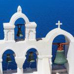 Free stock photo Chruch bells on Santorini against a blue Aegean Sea