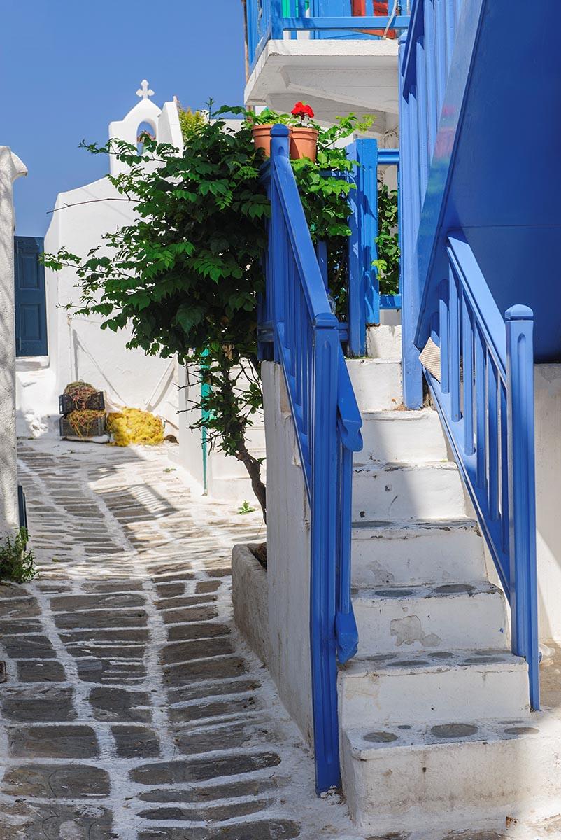 Free stock photo Colorful side street on Mykonos, Greece