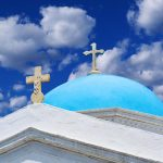 Free stock photo Top of an old white-washed chapel with blue dome in Mykonos, Greece