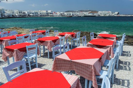 Free stock photo Outside dining spot on the island of Mykonos
