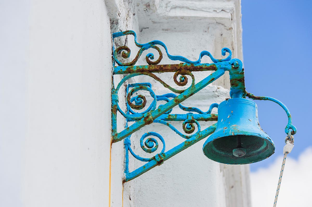 Free stock photo Decorative blue bell on a church in Mykonos