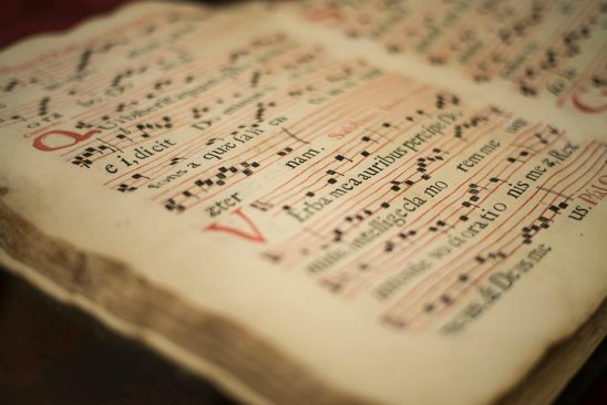 Free stock photo Close up of a sheet of medieval music