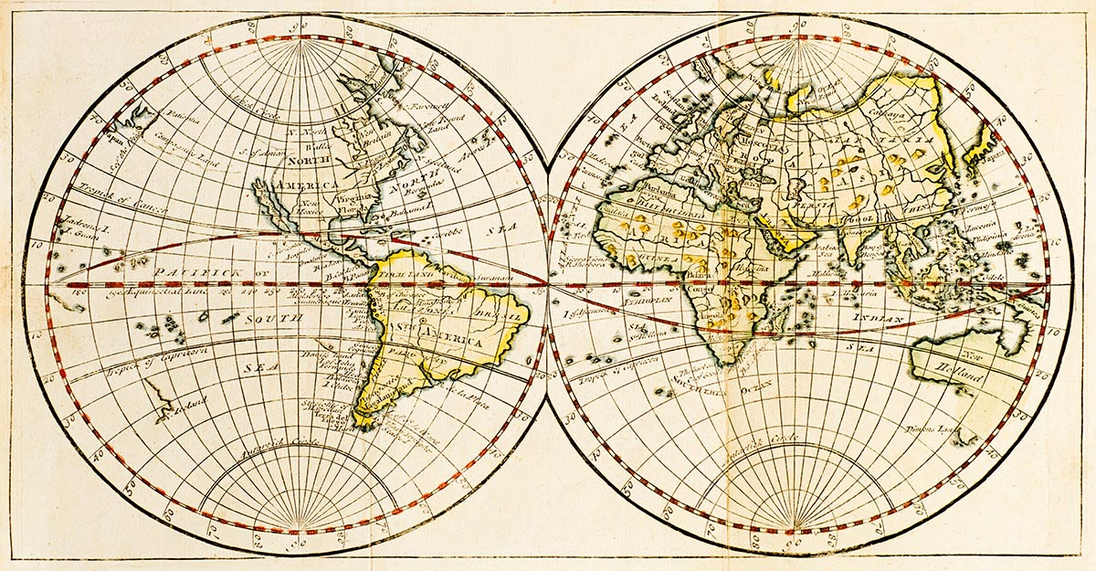 Free stock photo Antique double hemisphere map of the world