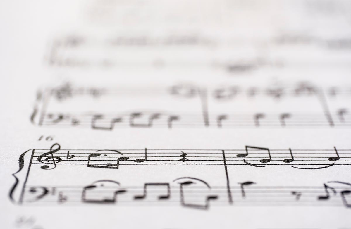 Free stock photo Close up of a white sheet of music