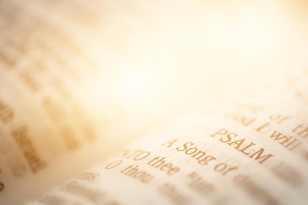 Free stock photo Open bible pages highlighting the word psalm