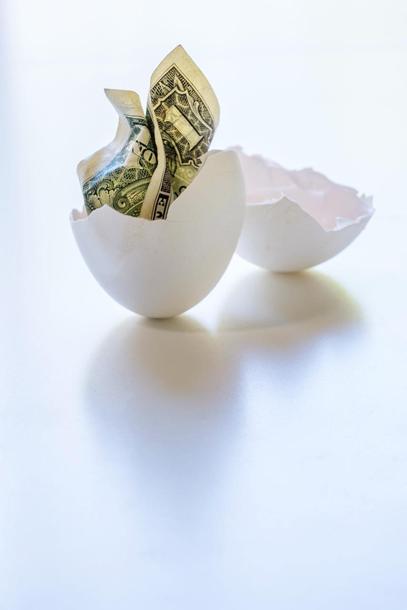 Free stock photo Broken egg shell with dollar bill