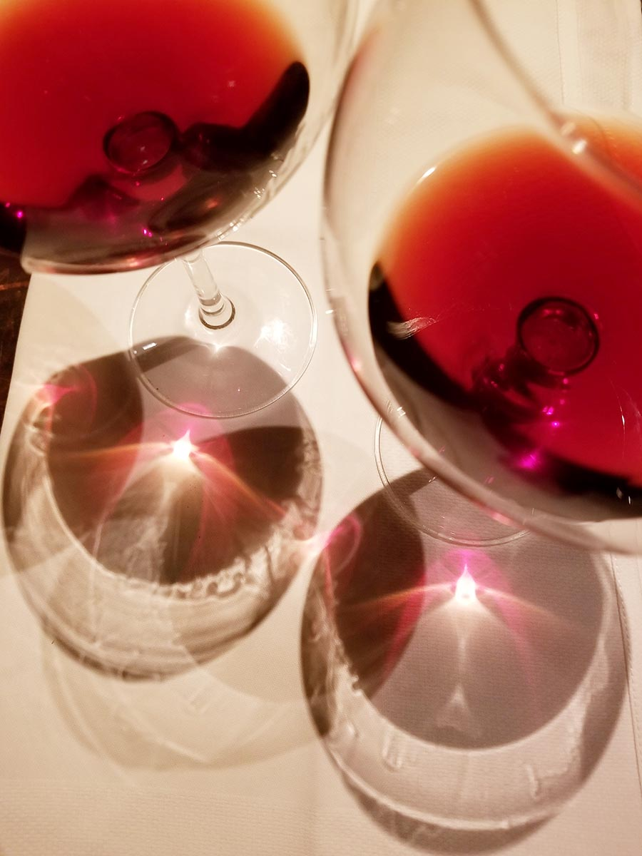 Free stock photo Overhead view of two red wine glasses