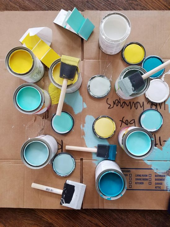 Free stock photo Open paint cans trying out paint colors