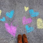 Free stock photo Colorful hearts drawn on a sidewalk with chalk