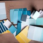 Free stock photo Paint sample strips on a moving box