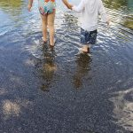 Free stock photo Two children walking in an urban puddle of water