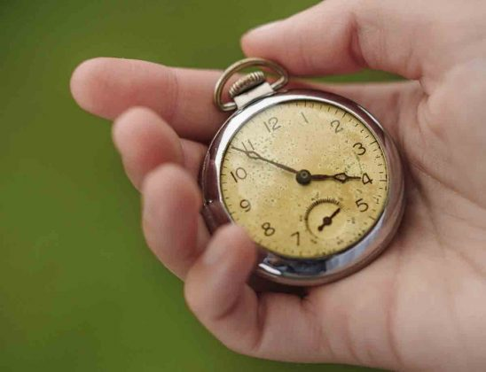 Free stock photo Close-up of hand holding pocket watch